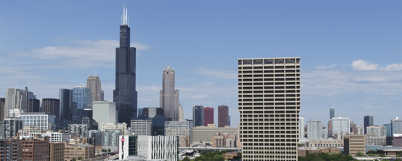 Chicago skyline with UIC campus in foreground