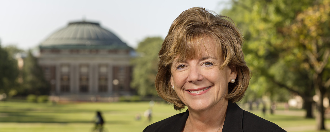 Barb Wilson with UIUC quad backdrop