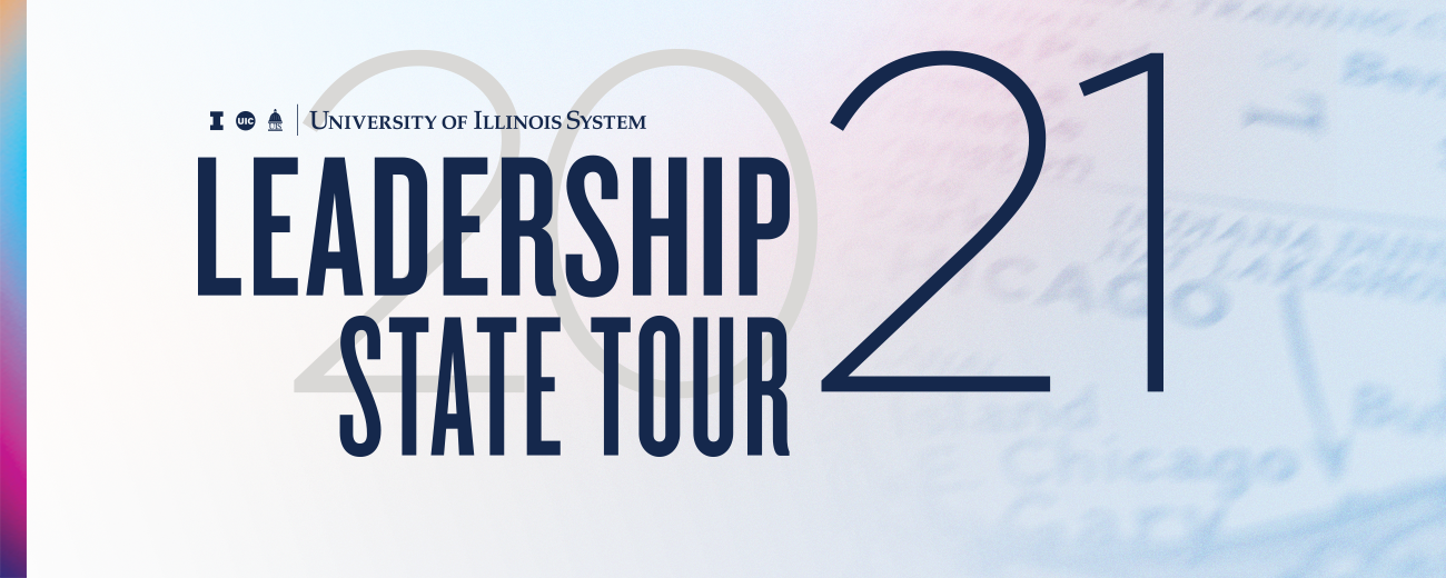 """U of I System logo with """"Leadership State Tour 2021"""" and map in background"""