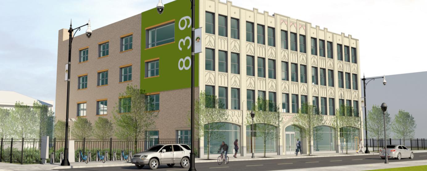 artists rendering of the Auburn Gresham Healthy Lifestyle Hub building