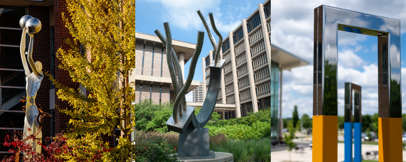 three artistic sculptures, one from each campus