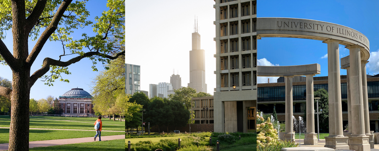 campuses of UIUC, UIC, and UIS