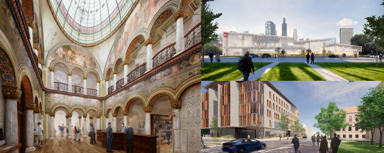 Compilation of artist renderings of three construction projects