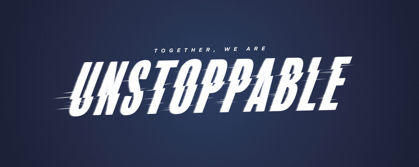 blue background, white text: together we are unstoppable