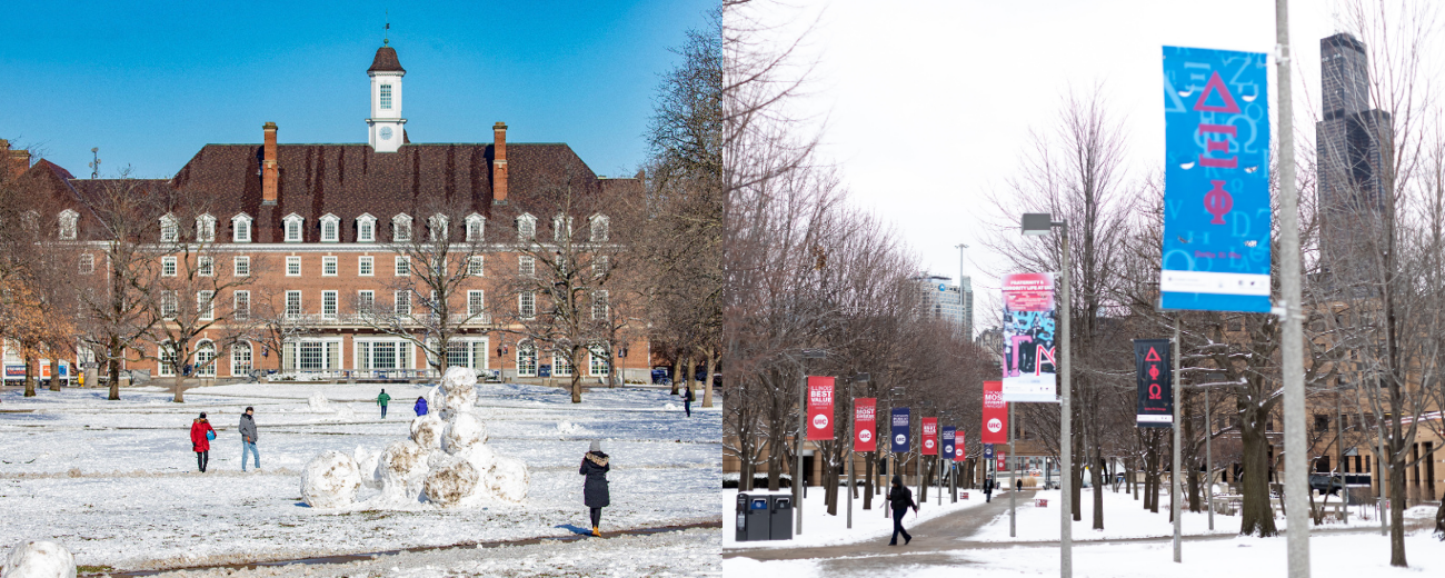 UIUC and UIC campuses in snow