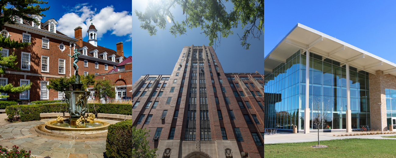 composite of Illini Union, UIC med building and UIS student union