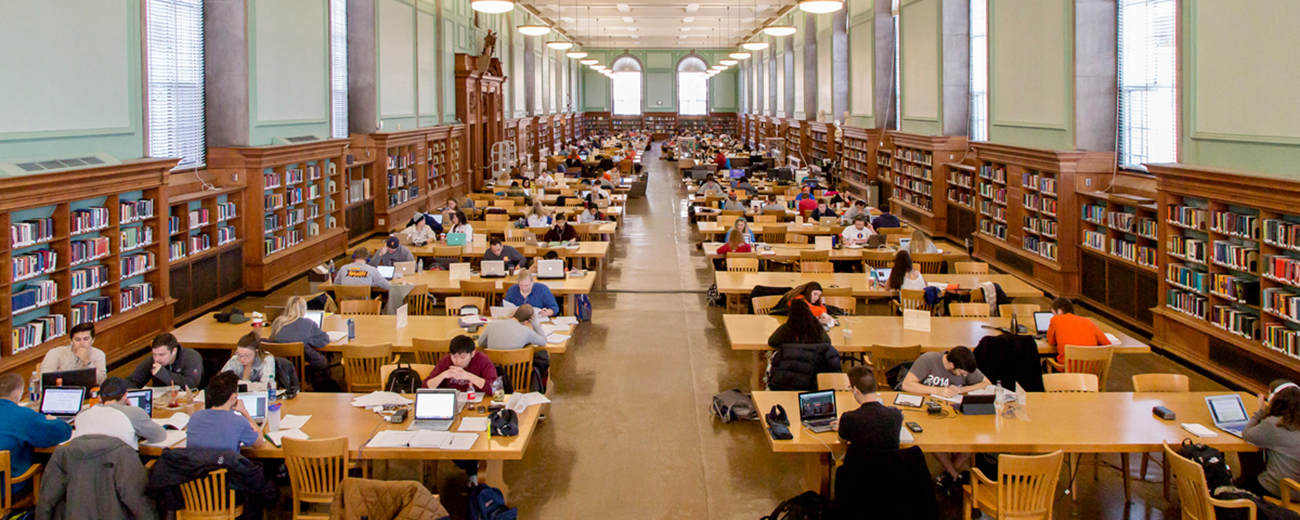 Students study in the Main Stacks in Urbana-Champaign