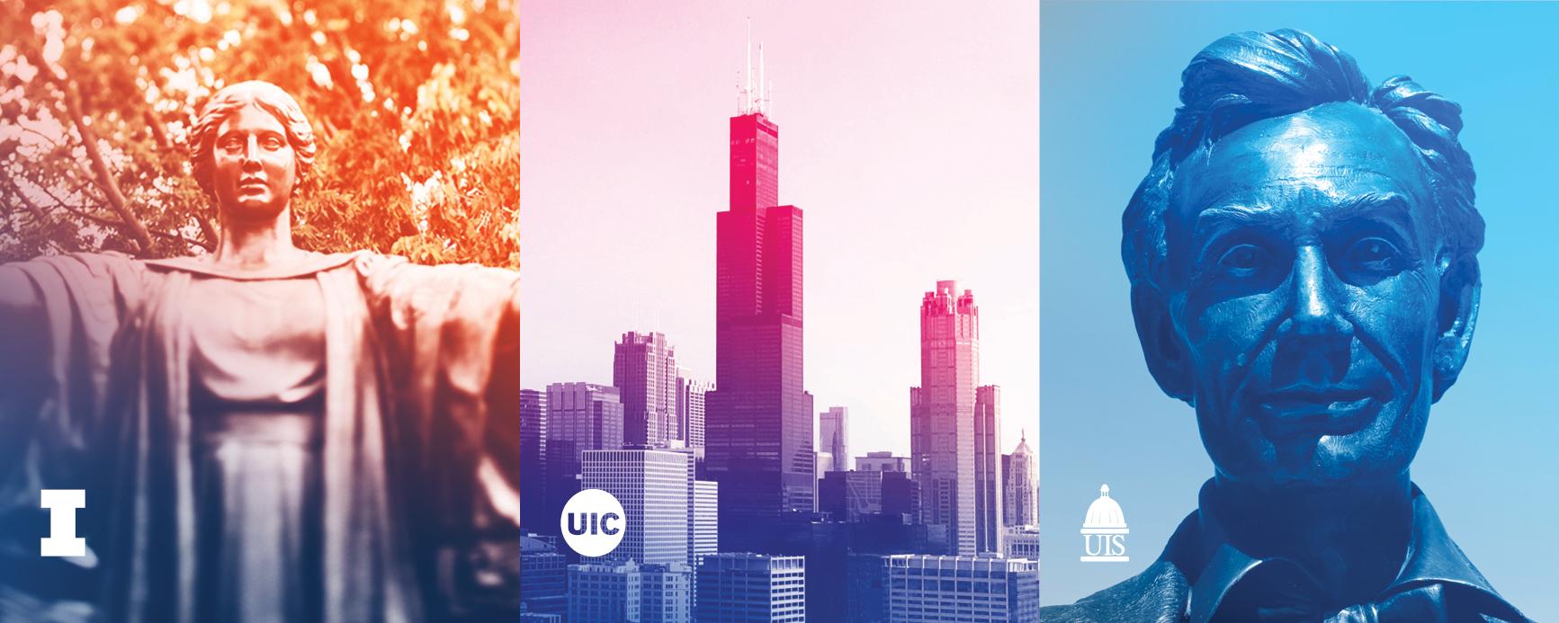 Alma Mater, Chicago Skyline, Lincoln bust - university logos