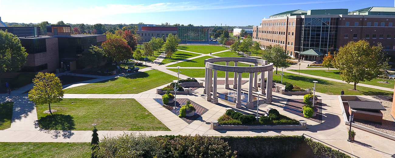 overhead view of UIS campus
